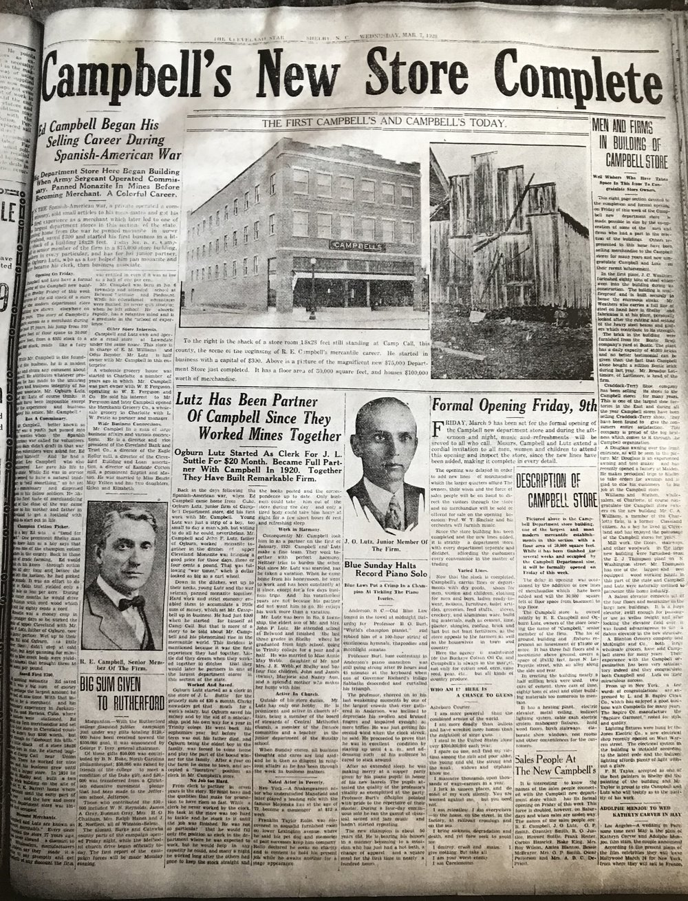 A January, 1928 newspaper proclaims the Campbell Building completion.