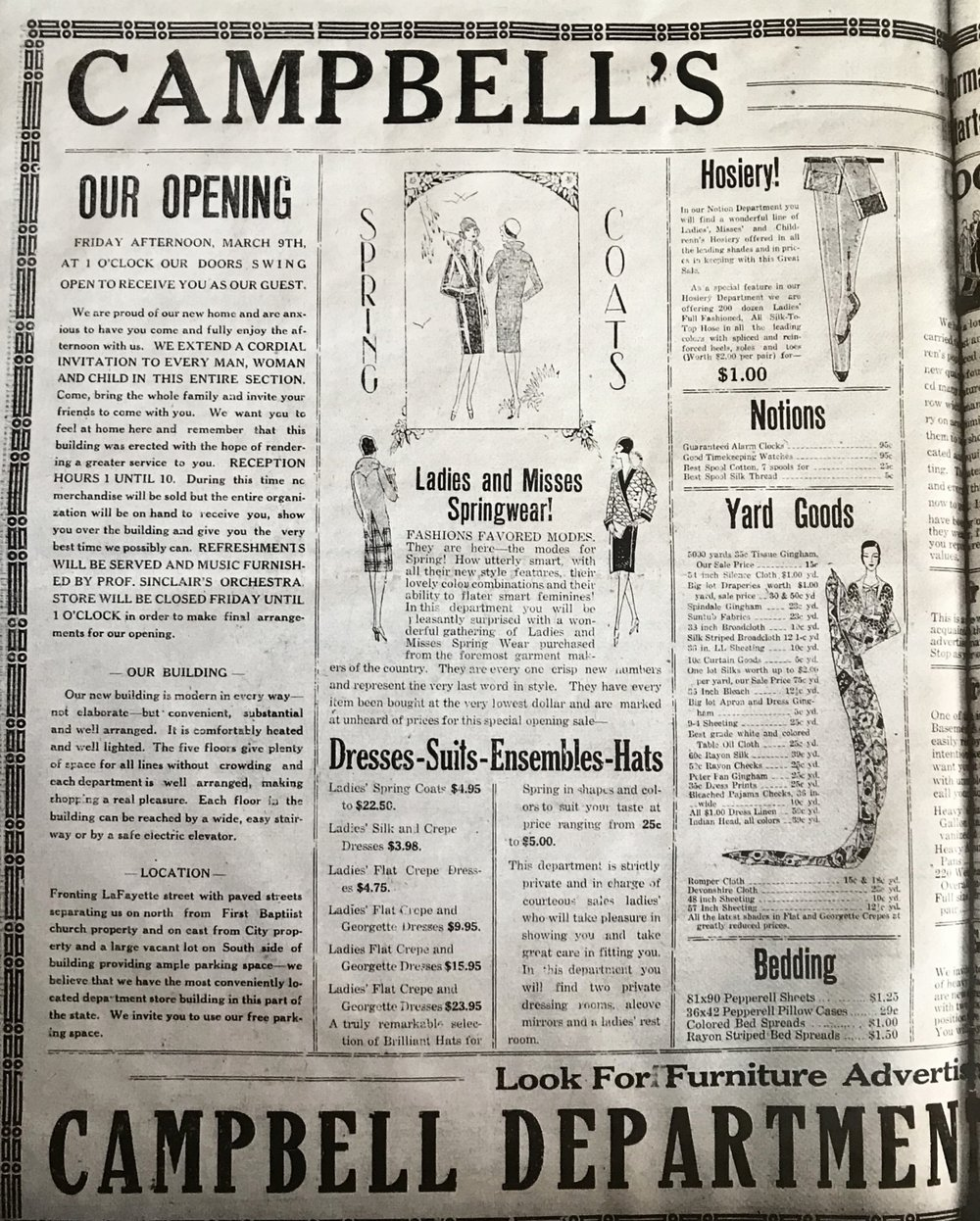 "The springwear collection for ""Ladies and Misses"" is ultra roaring 20s!"