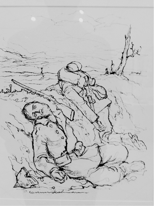 """""""In the Trench"""" by Werner Hahmann (Germany, c. 1914)"""