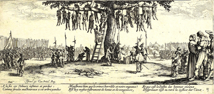 """The Hanging Tree"" by Jacques Callot (France, 1633)"