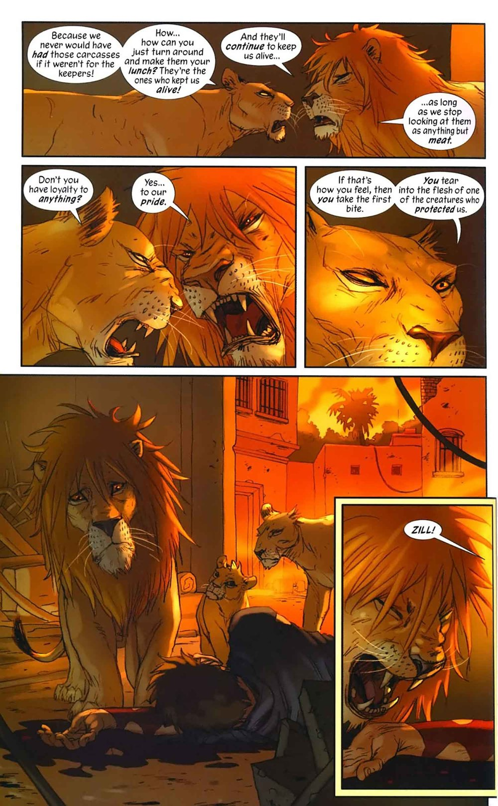 Frame from the graphic novel Pride of Baghdad by Brian K. Vaughan and Niko Henrichon