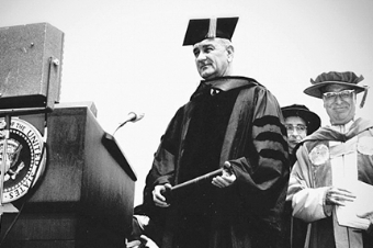 President Lyndon B. Johnson attends the Newhouse 1 dedication, August 5, 1964, where he delivered the Gulf of Tonkin Speech. (Photo: sumagazine.syr.edu)