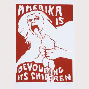 "This Goya-inspired anti-Vietnam image""Amerika is Devouring its Children,"" by Jay Belloli was one of many created by the Berkley Political Poster Workshop."