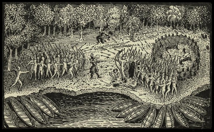 Defeat of the Iroquois by Champlain. Photo provided by Wikimedia