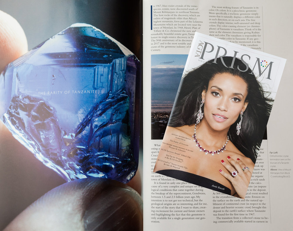 Photograph of the latest edition of AGTA's Prism Magazine, and article. Photo: Robert Gessner