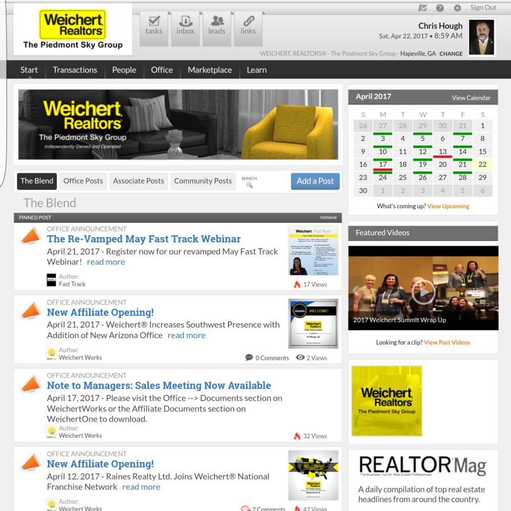 Weichert Works    Use this tool to communicate internally, upload or retrieve documents for your transactions, and more.