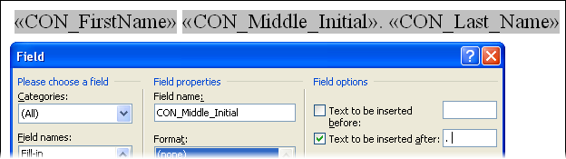 Middle Initial merge field editing