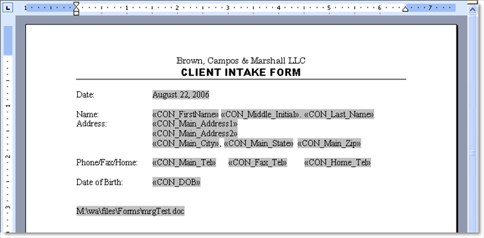 Client intake form active practice here is an example of a merge template created in ms word for a client intake form pronofoot35fo Choice Image