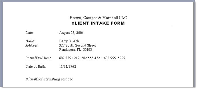 Client intake form active practice the resulting sample client intake form looks like this in a word processor after the merge pronofoot35fo Choice Image