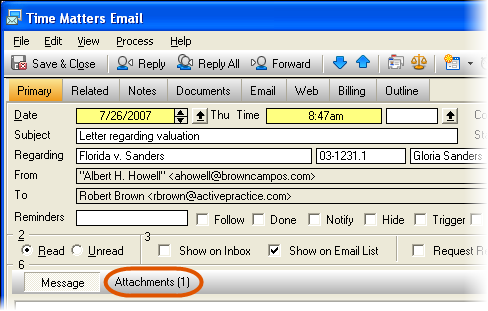 Email Attachment Button