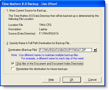 Time Matters Backup settings