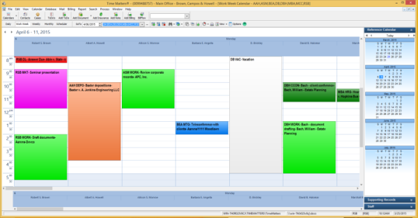 Calendar with multiple staff