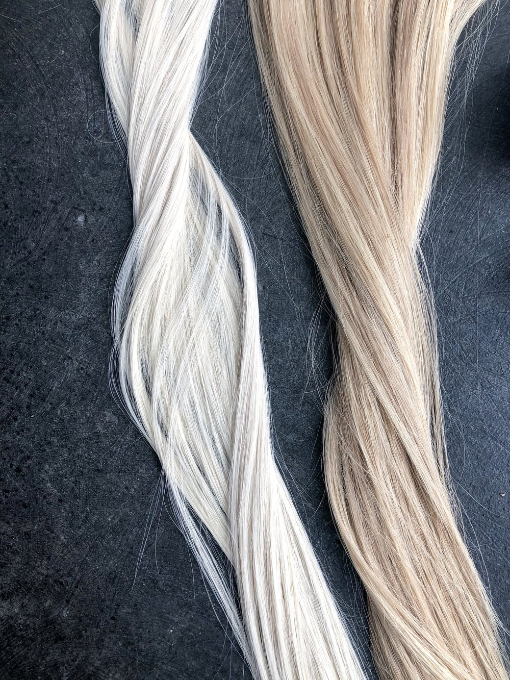 Sky & Mariah, side by side. You can also purple shampoo or tone each shade for a cooler result!