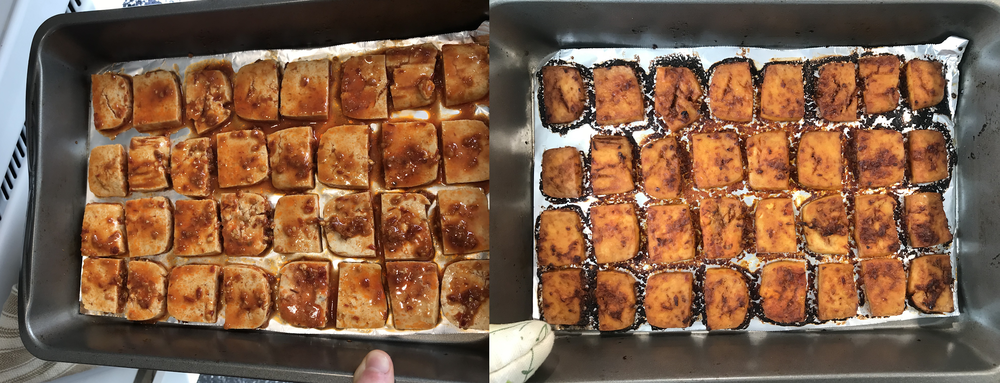 (Left, before baking; right, after baking.)