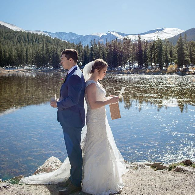 Loved this unique first look! With a gorgeous backdrop, this lovely couple read each other letters moments before they saw each other for the first time on their big day! We love getting to help make these type of moments happen for your unique wedding, because your love is unique and so deserves to be celebrated that way! . . Photographer: @jenniferellephotography