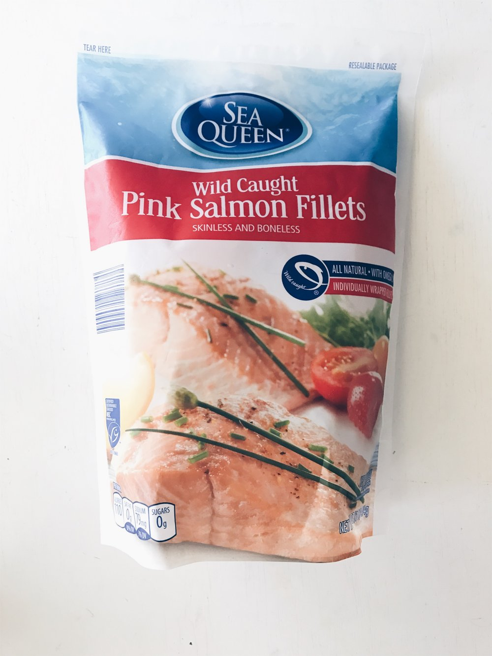 I love changing up our meals with a little fish. ALDI has a lot more than you would think; shrimp, tilapia, and salmon When purchasing salmon or any fish make sure to look for wild-caught and not farm raised. In this pack all the fillets are individually wrapped which keeps them fresher longer.