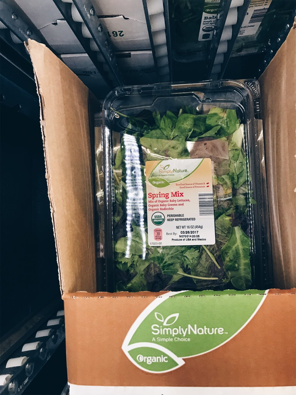 ALDI now carries several different boxed organic greens. I love my greens!! so this is a major plus for those of you who love salads or a some green to your morning smoothie like me.