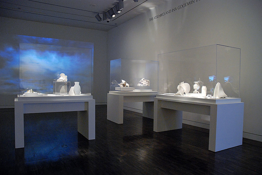 Land, Sea, Air,  2013,installation view,Cases 1-3,in the  Proximities 3: Import/Export  exhibition, curated by Glen Helfand), Asian Art Museum size variable