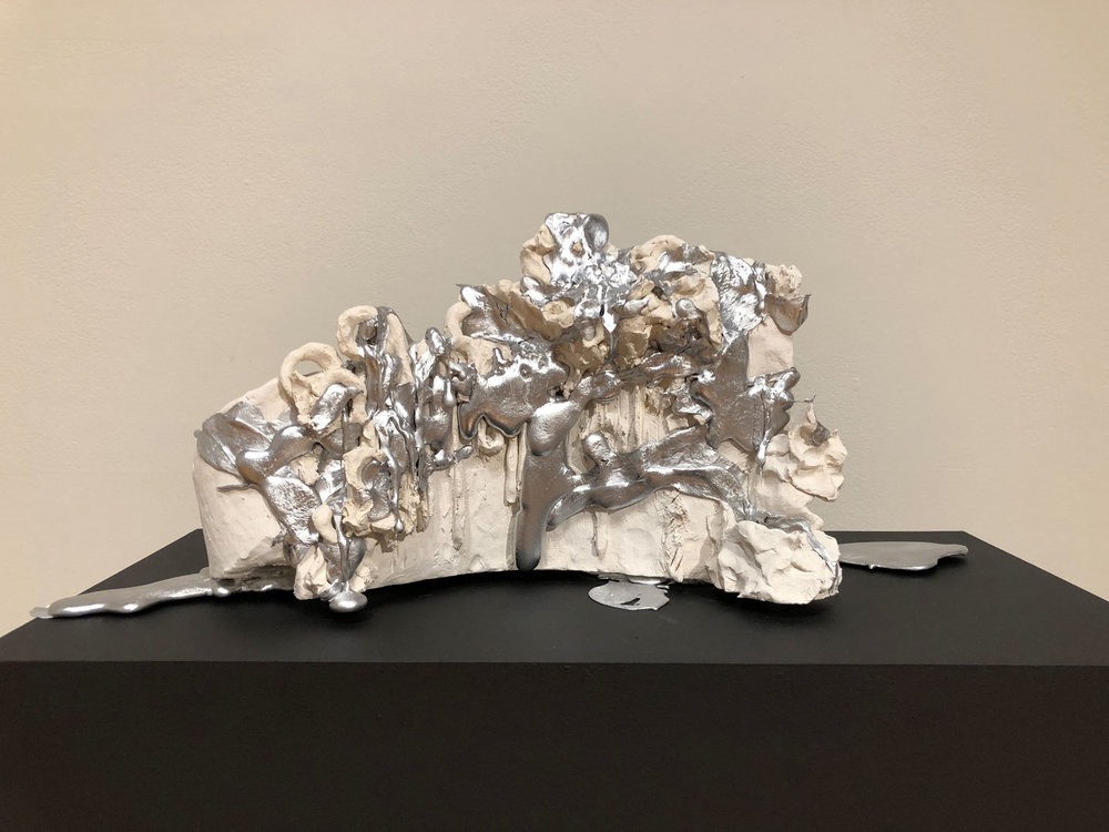 Landscape , 2018, ceramic, poured aluminum, 11 x 30 x 13 inches