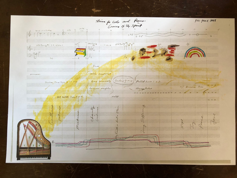 """Score for """"Stains for Cello and Piano"""" by Kris Force."""
