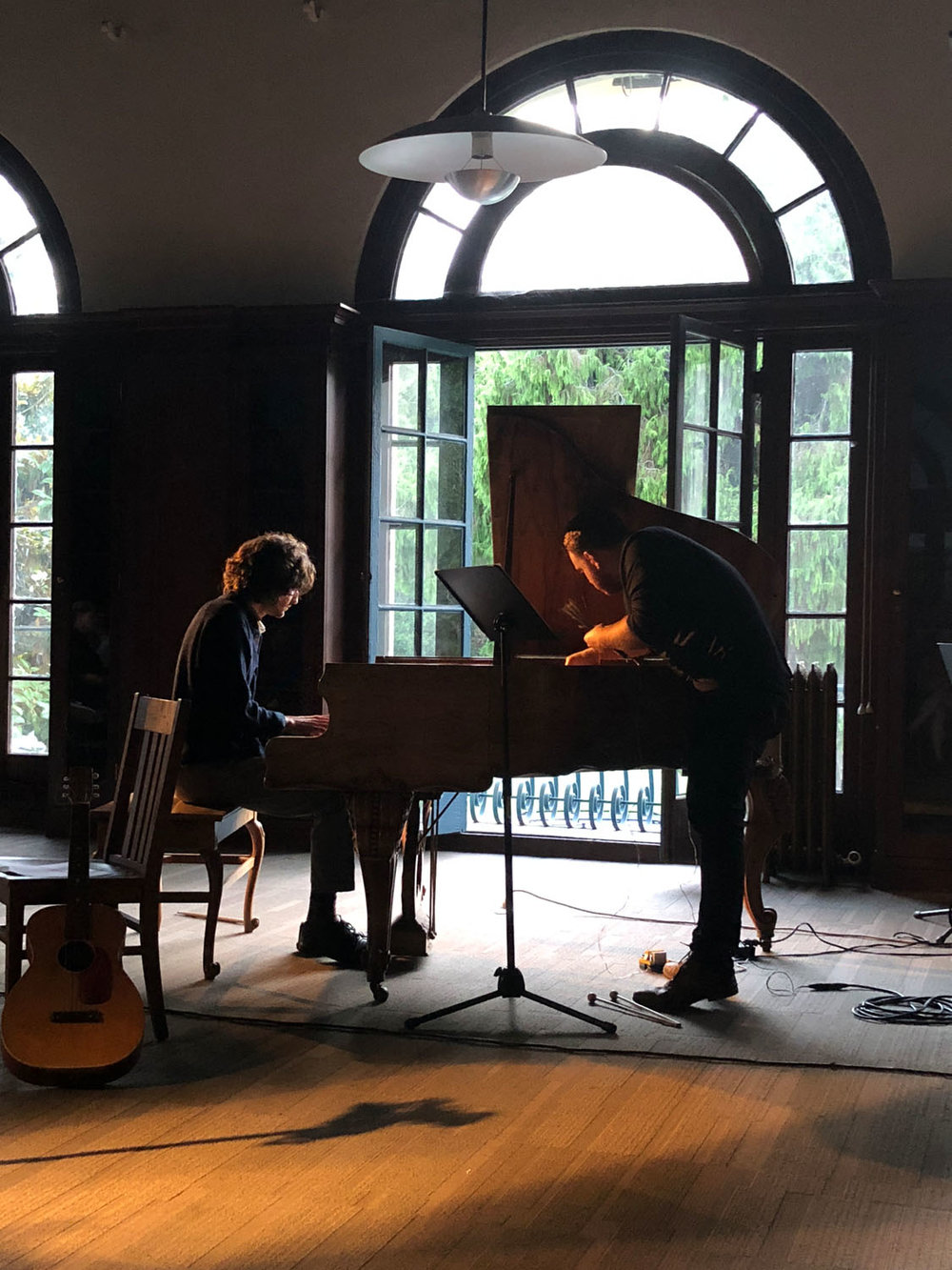 """Prepared piano played by Brendan Glasson and Tony Gennaro in Kris Force's composition """"Stains for Cello and Piano."""""""