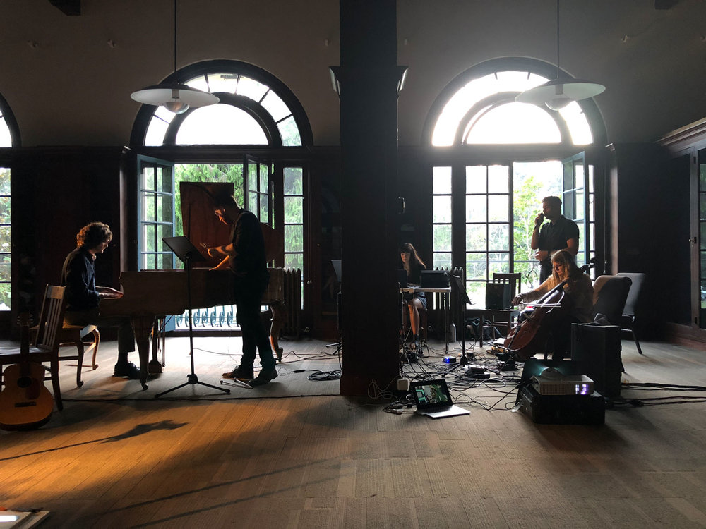 """Kris Force performs her composition, """"Stains for Cello and Piano"""" a meditative reflection on residual markings and materiality, with Brendan Glasson, Sally Decker, Tony Gennaro, and Rodolfo Córdova."""