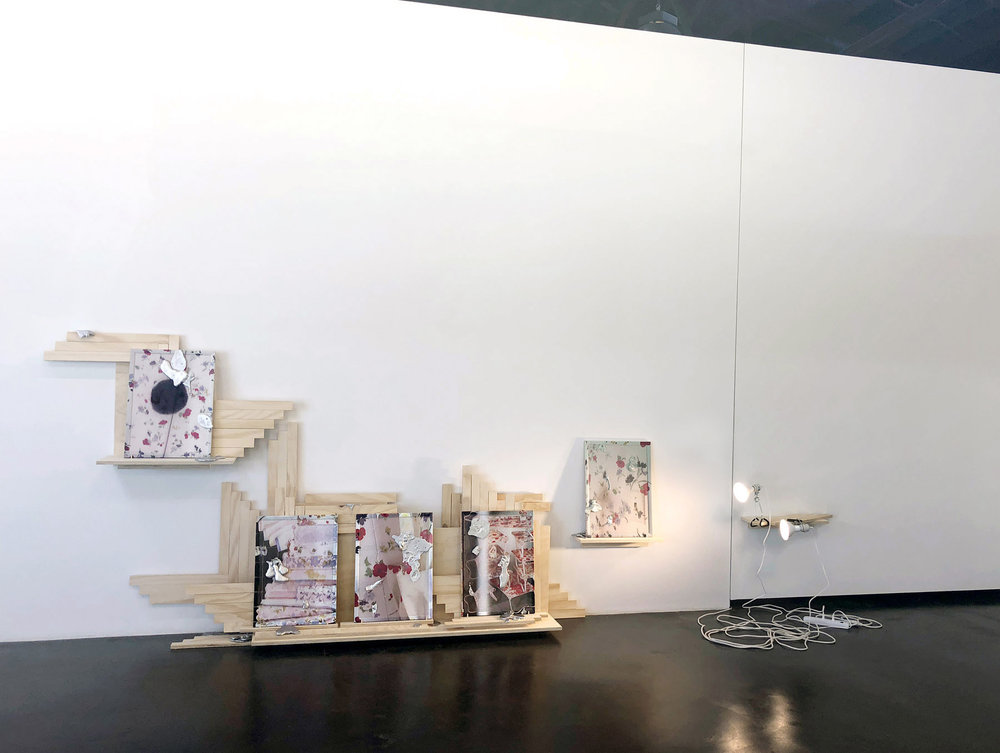 Darling Dark Direct Directly,  installation view, 2018, in   Seven Places of the Mind   exhibition (curated by Margaret Tedesco), acrylic on cork board, poured aluminum, pearl head straight pins, wood, plywood, dowels, porcelain clamp lamps, LED flood lights, power strip, extension cord, size variable