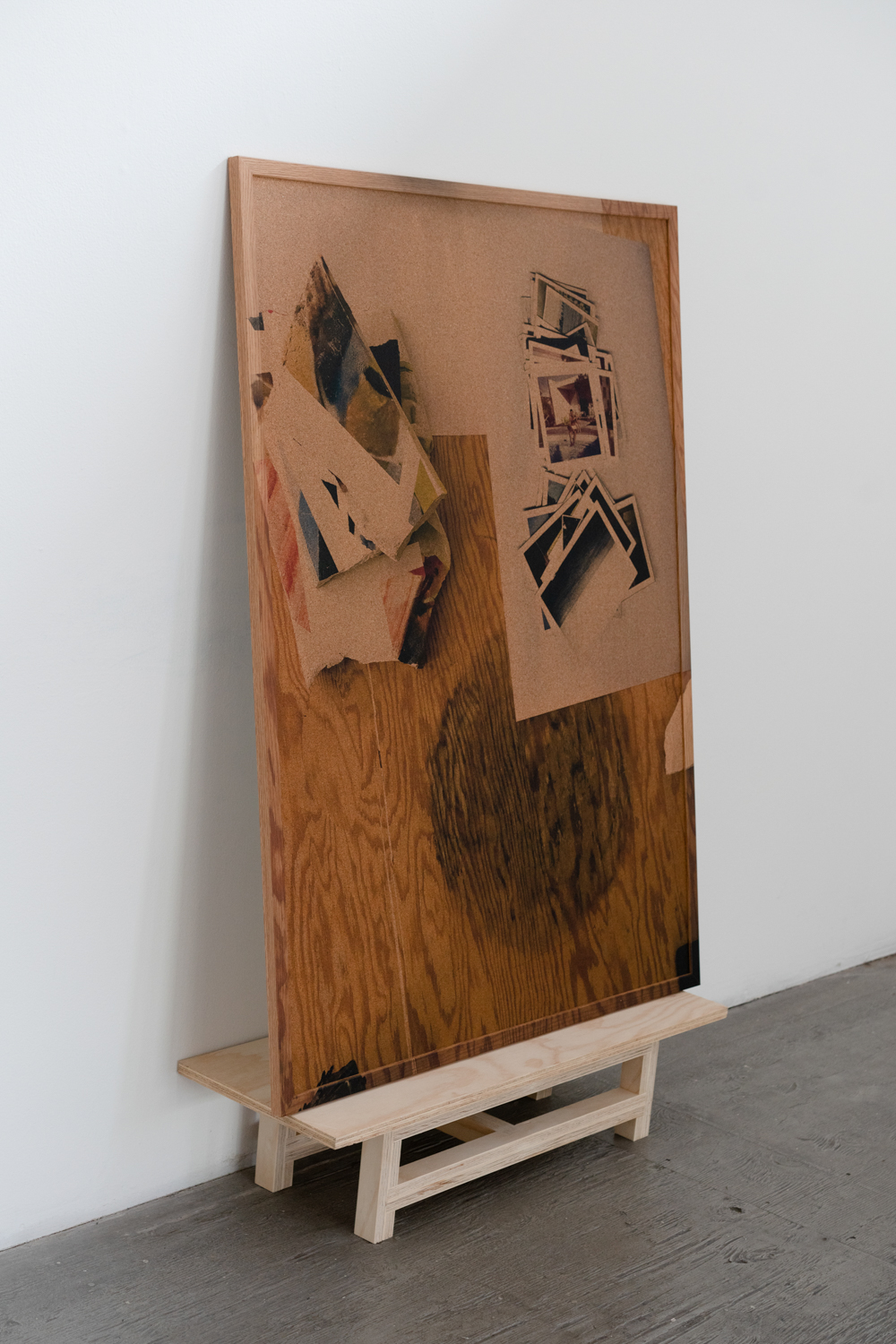 Bottoms Up , 2019, acrylic on framed cork board, wood, 55.5 x 24 x 10.5 inches