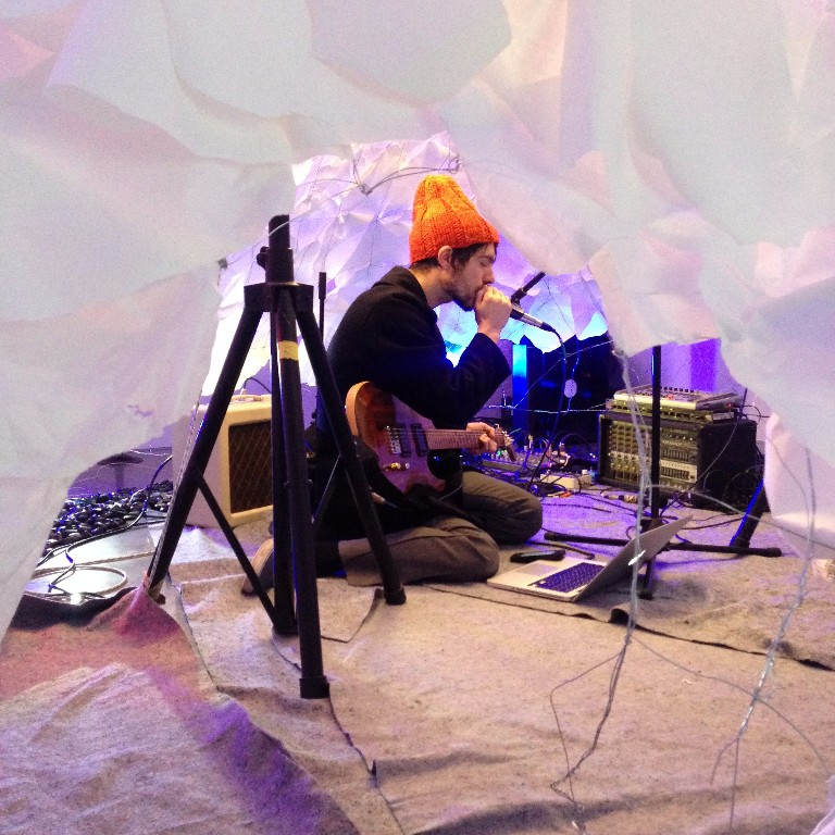 Jacob Palmer in the Soundscaped Cocoon (Image courtesy StoreFrontLab)