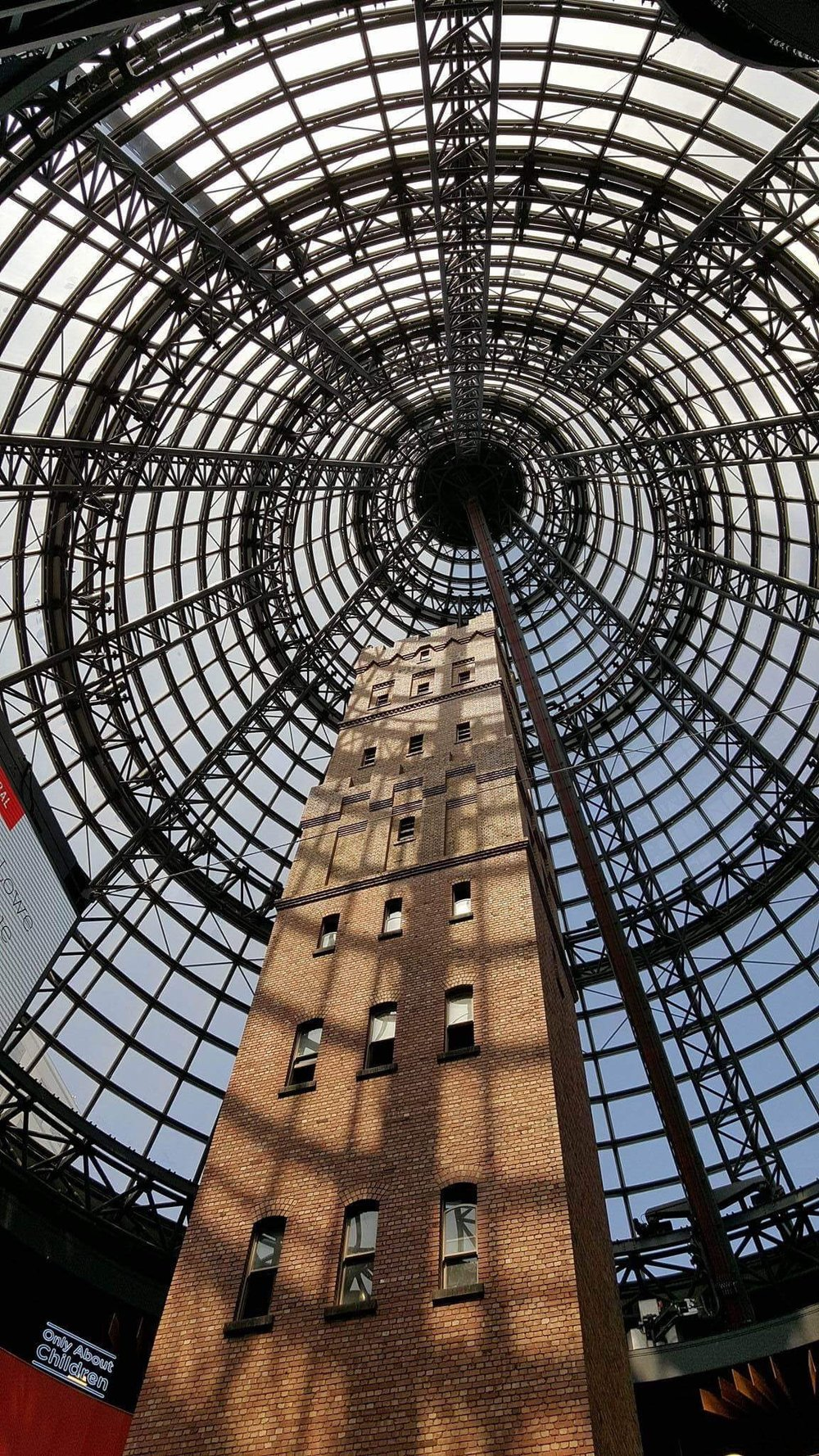 Under the dome that is Melbourne Central.