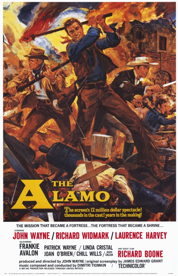 John Wayne's  The Alamo  was the first motion picture to win a Bronze Wrangler award at the first ceremony in 1961. Image credit: Reynold Brown [Public domain]