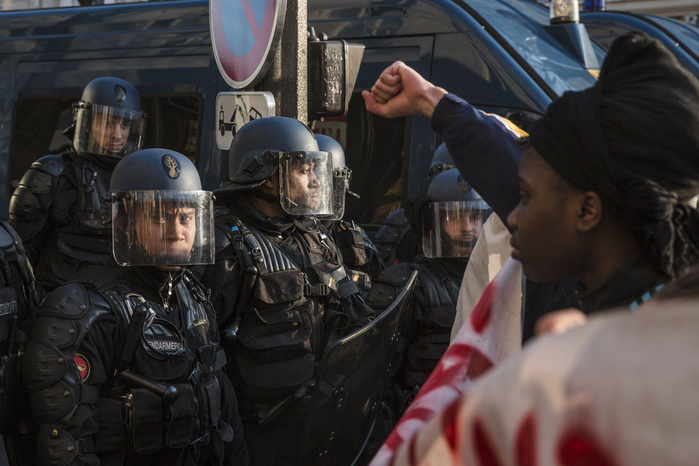 Tensions between protestors and police begin to mount as the afternoon wears on and demonstrators begin marching toward the police blockades at Republique in Paris, France on February 18, 2017.