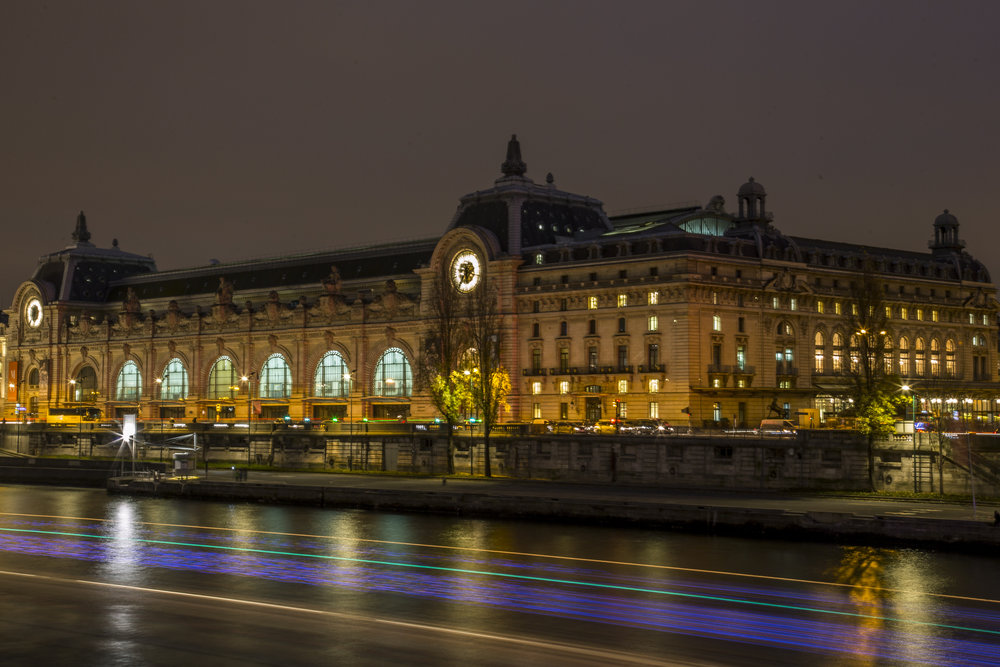 The Musee D'Orsay as seen from the Passerelle Leopold Sedar Senghor across the river Seine in Paris, France.