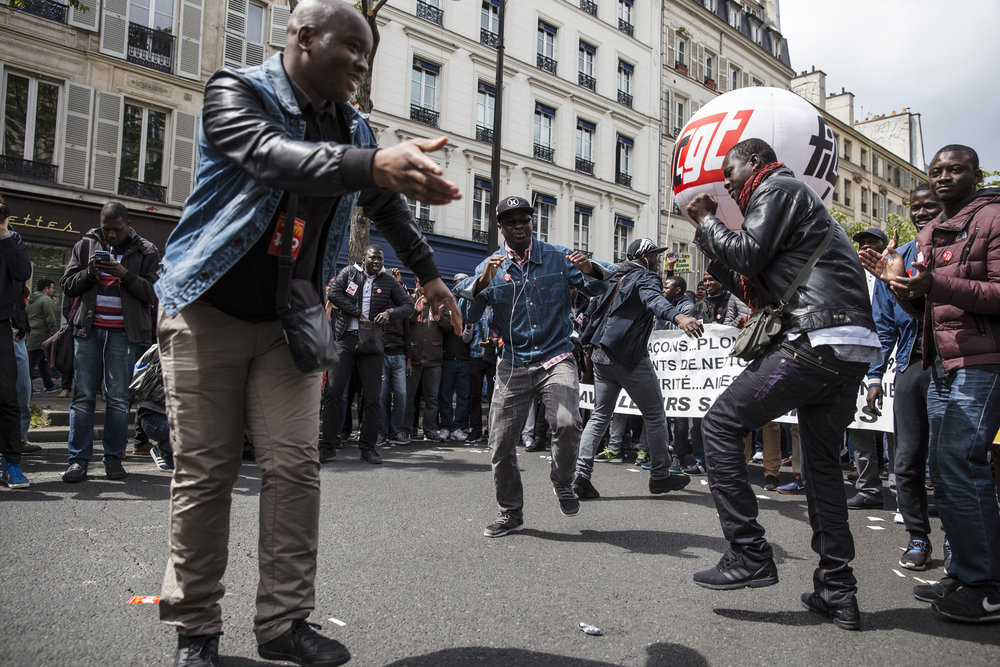 Along with various leftist groups, immigrants rights organizations were in attendance on May Day, before the riots broke out, the mood was quite festive in Paris, France on May 1, 2017.