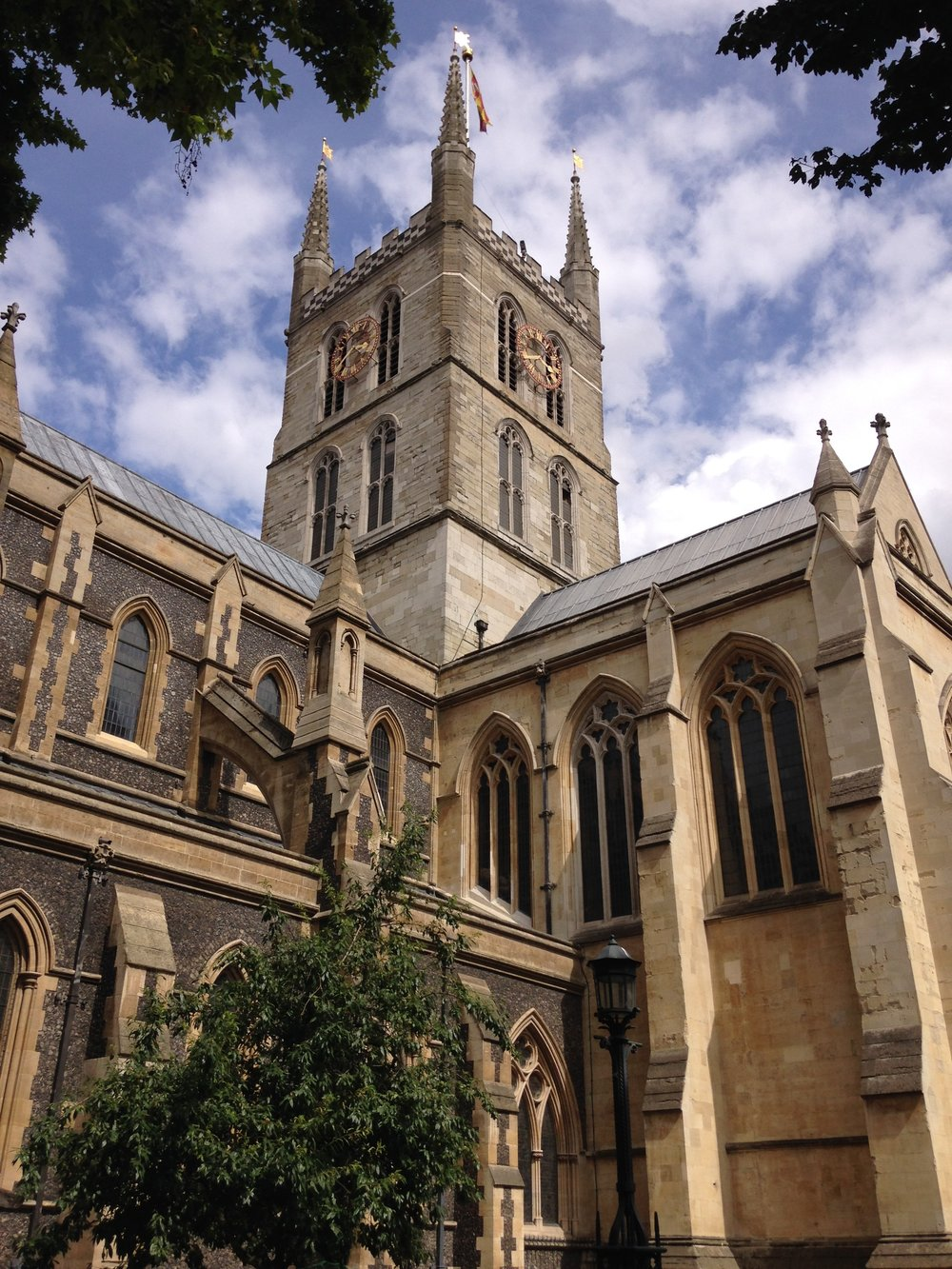 Southwark Cathedral tower from SW.JPG