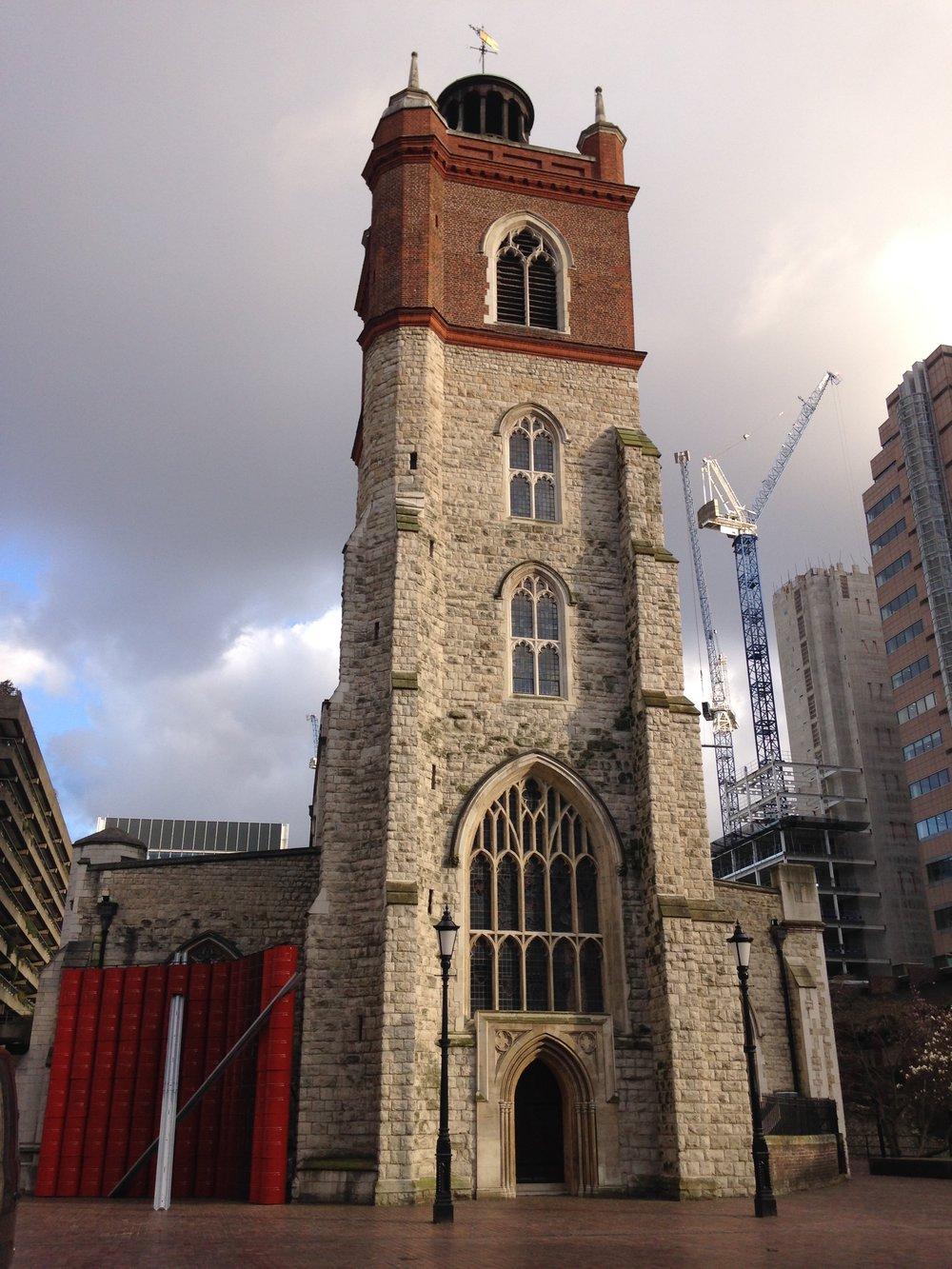 St Giles Cripplegate with lenten artwork installation.JPG
