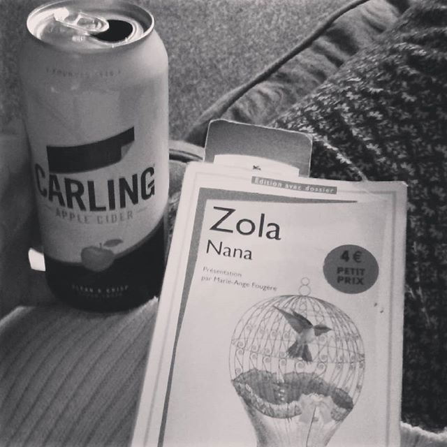 Cider and literature = a modern Thursday classic  #thursday #takebackthursday #thursyay #cider #reading #booklover #zola #realism