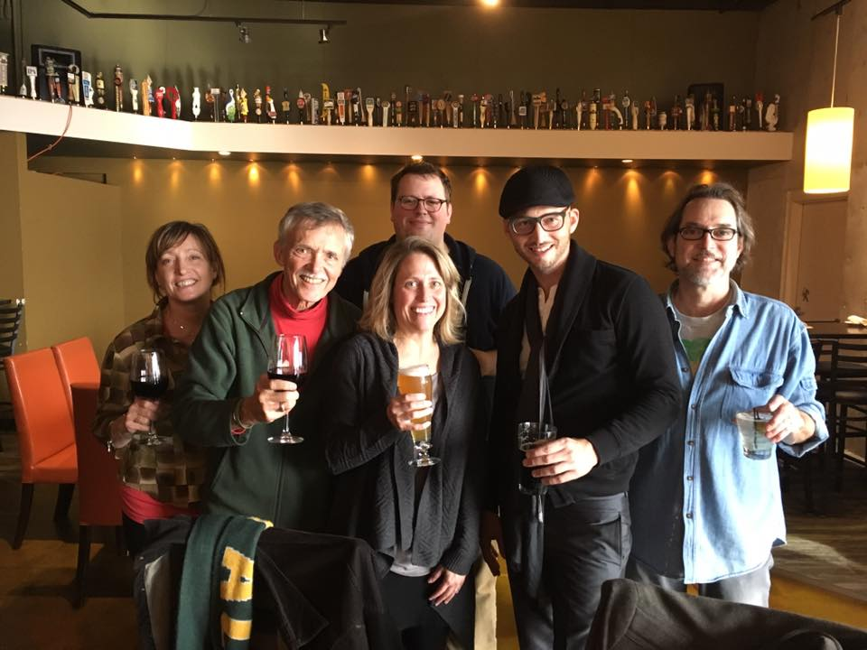 "Cynthia with (L to R) Janet Planet, John Harmon, Mike Malone, Andy Sachen, Tom Washatka, October 28th, 2016 at Beckets in Oshkosh, WI after completing recording for ""Clearly"""