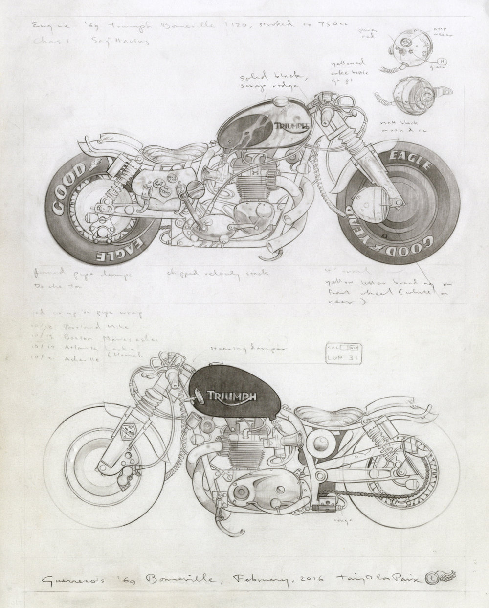 Guerrero's '69 Bonneville, 2016, pencil on paper, 14 x 11 inches