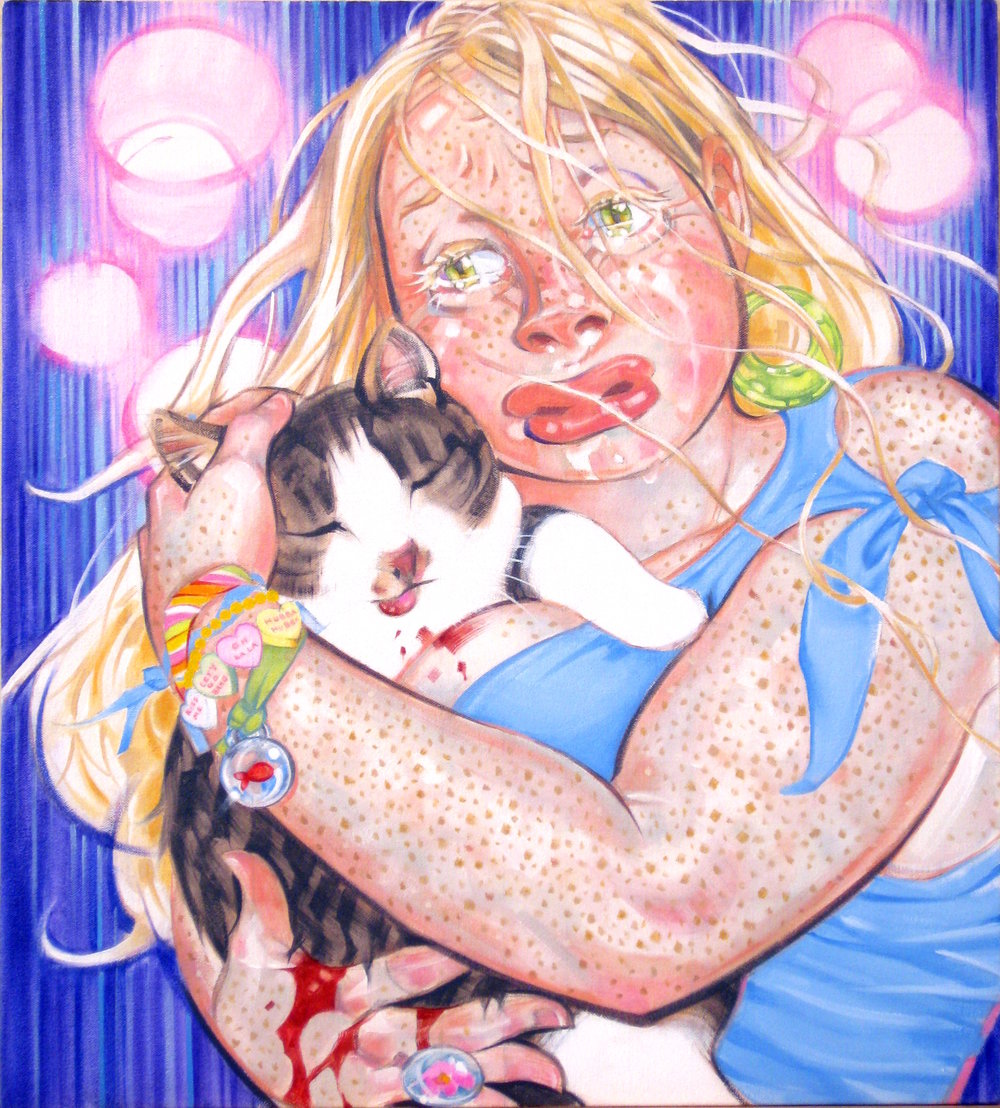 All Cats and Dogs Go to Heaven, 2009, oil on canvas, 22.5 x 20.5 inches, courtesy of Carl Granados