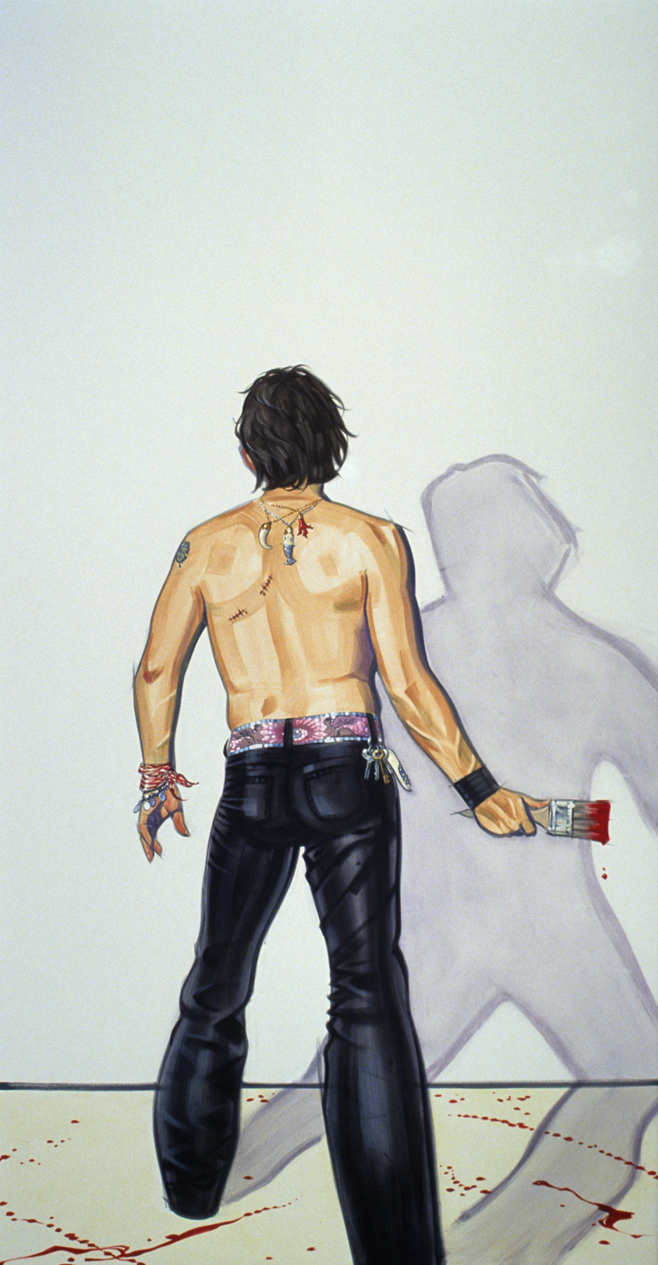 Me and the White Canvas, 2003, oil on canvas, 95 x 50 inches,  courtesy of Jolene Mechanic