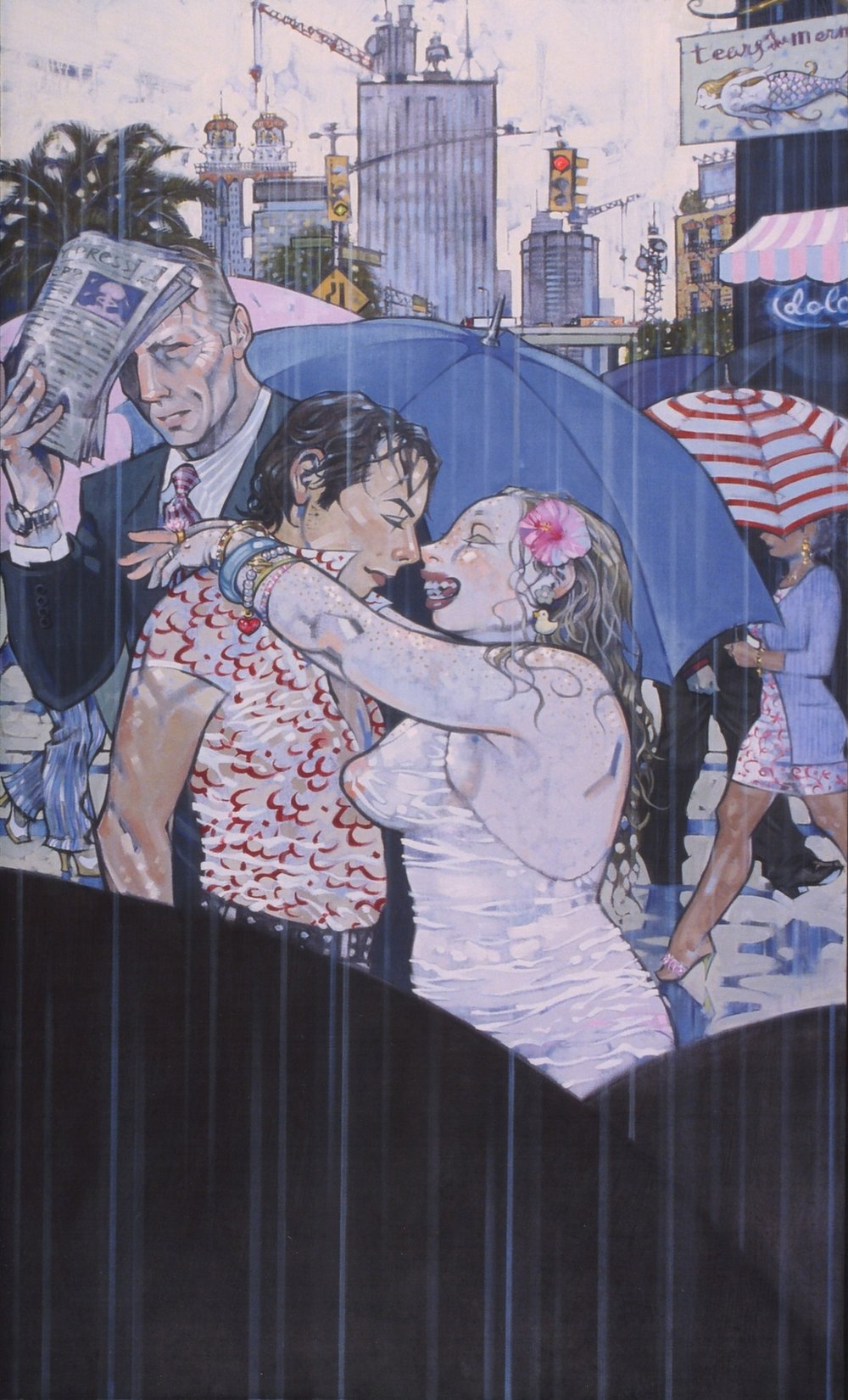 Kiss, 2002, oil on canvas, 68.5 x 40.5 inches