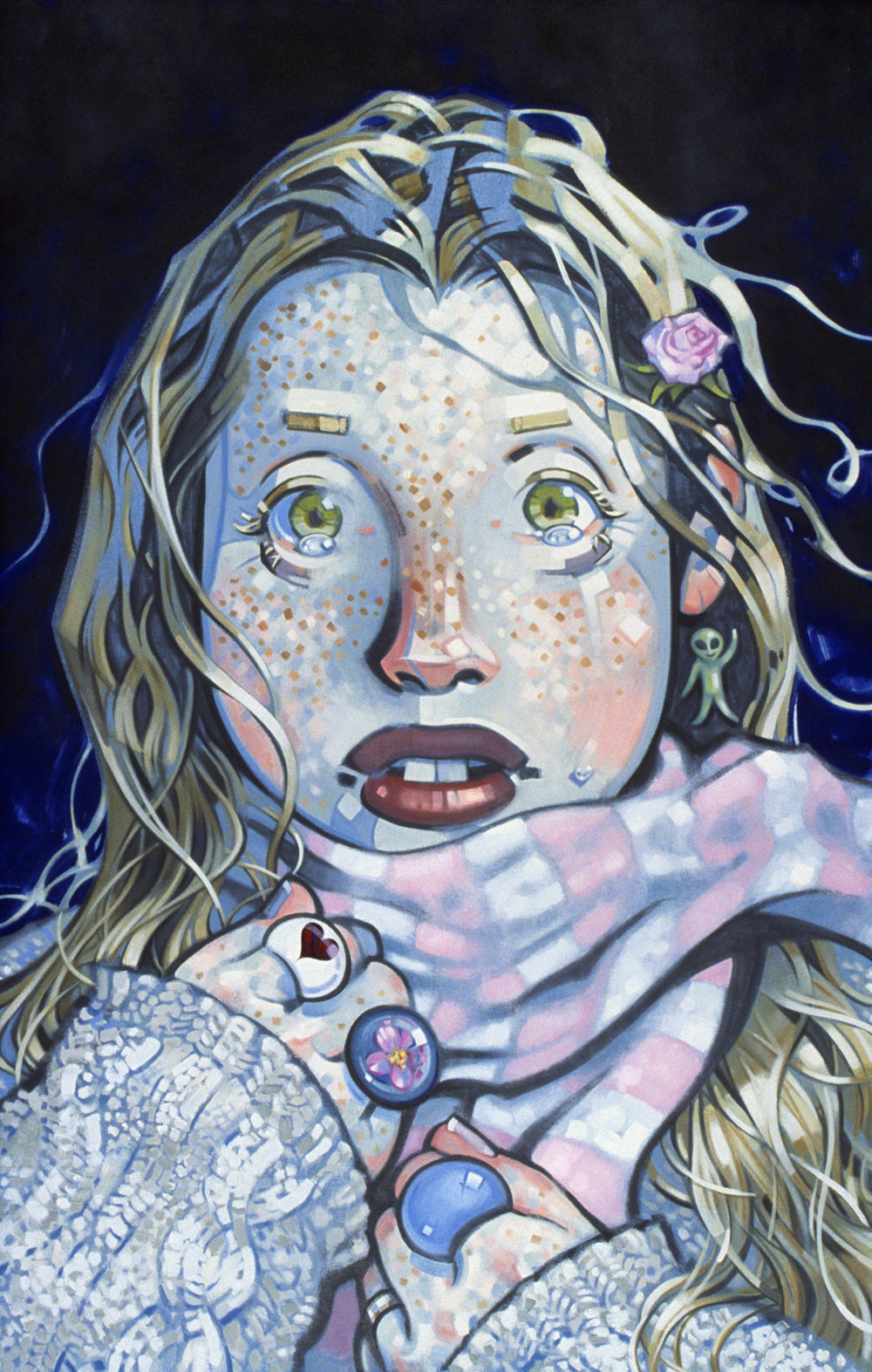 Teardrops, 2002, oil on canvas, 55 x 35.5  inches, private collection