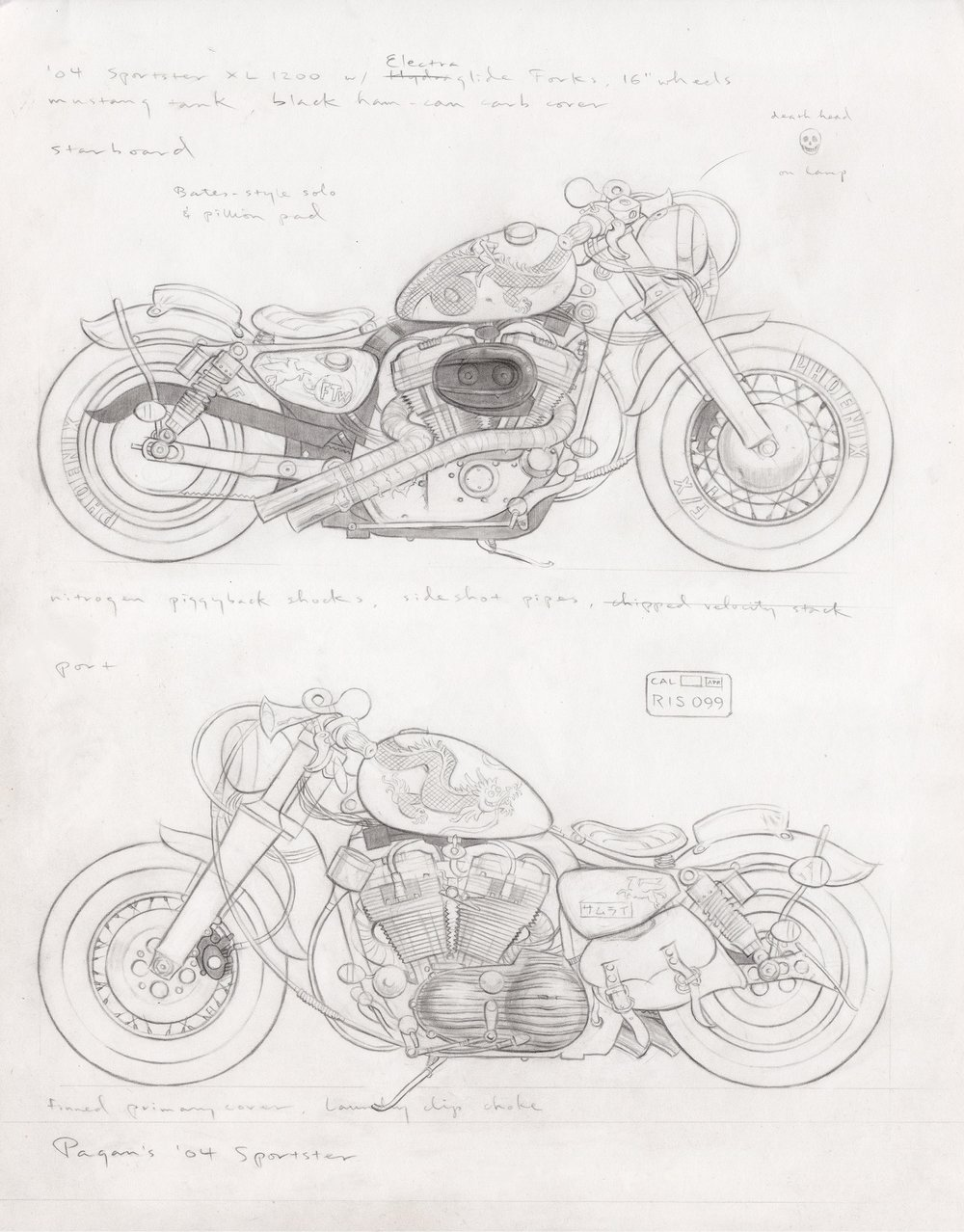 Pagan's '04 Sportster, 2014, pencil on paper, 14 x 11 inches