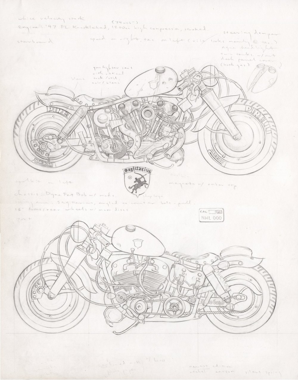Xile's '47 Knucklehead, 2014, pencil on paper, 14 x 11 inches