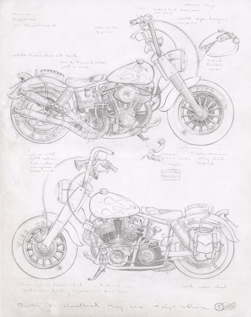 Brute's '71 Shovelhead, 2014, pencil on paper, 14 x 11 inches
