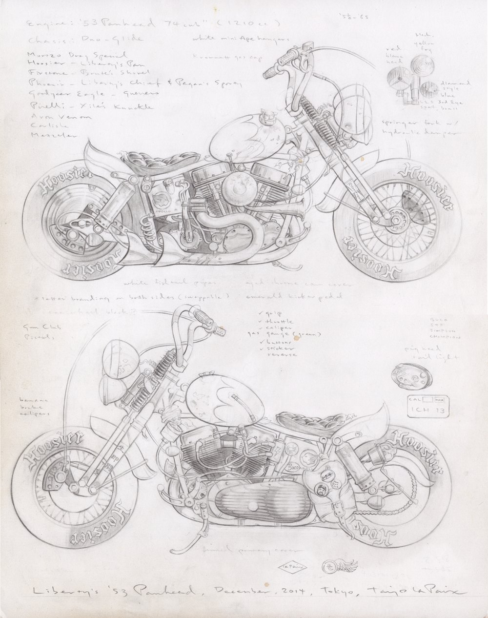 Liberty's '53 Panhead, 2014, pencil on paper, 14 x 11 inches