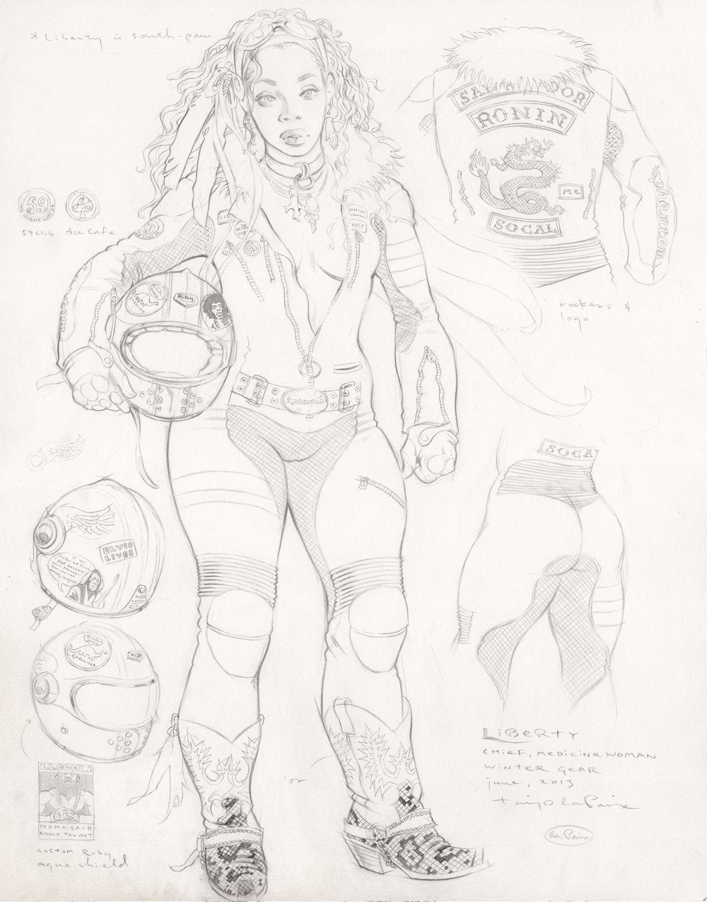 Liberty, Winter Gear, 2013, pencil on paper, 14 x 11 inches