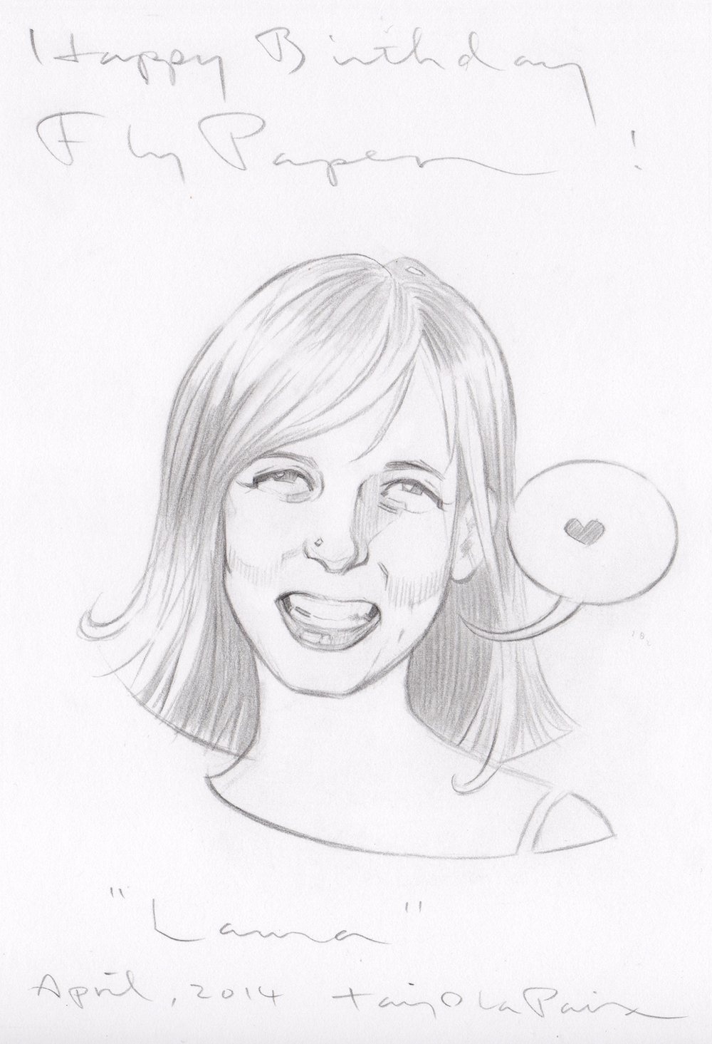 Laura, 2014, pencil on paper, 6 x 4 inches, courtesy of FlyPaper