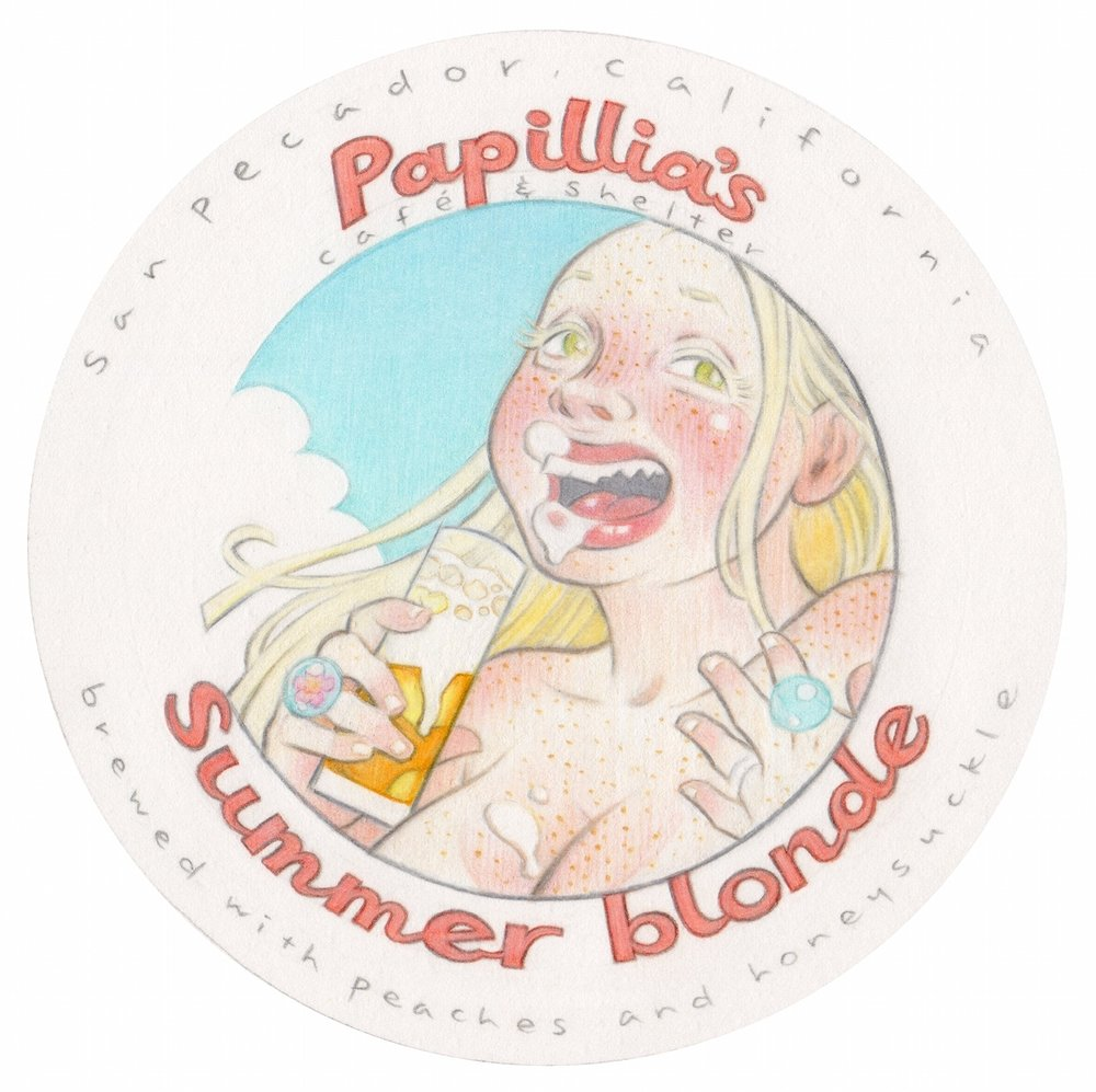 "Summer Blonde, 2013, pencil on primed beer coaster, 4 x 4 inches, project for ""BUZZ art.craft.beer,"" curated by Peter Parpan  Portfolio"